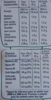 Fitness Chocolat au Lait - Informations nutritionnelles - fr