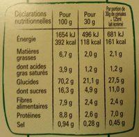 Fitness Chocolat Noir - Informations nutritionnelles - fr