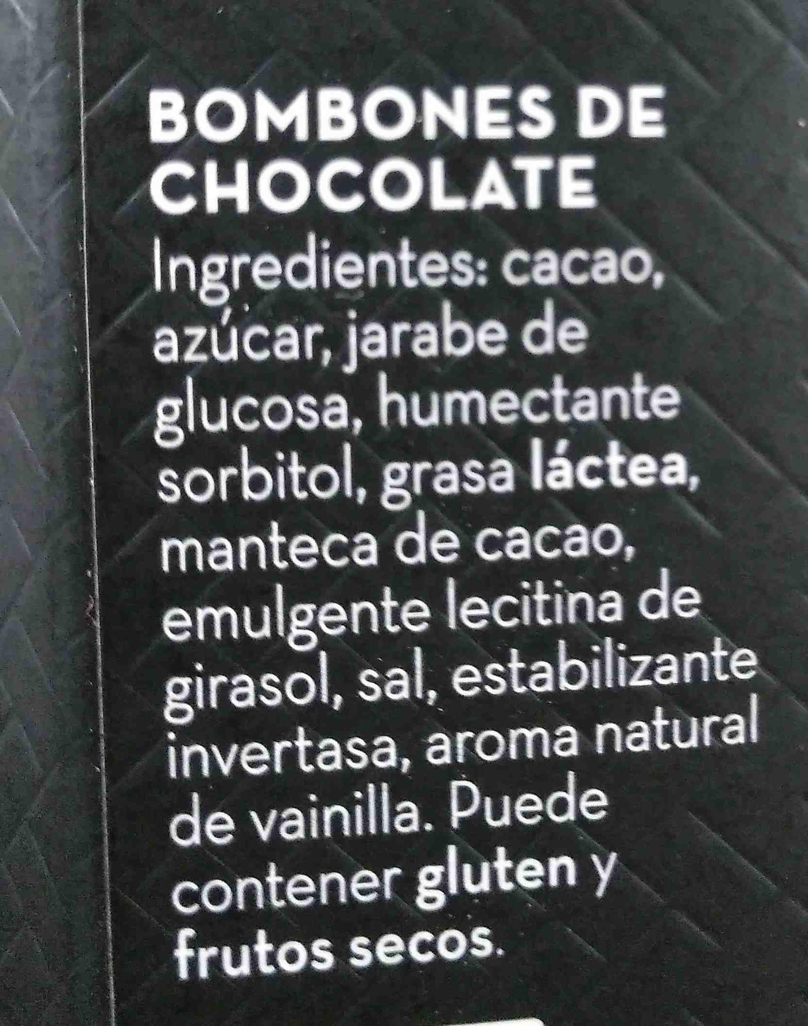 Bombones chocolate negro premium caja roja - Ingredients - es