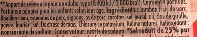 Le Bon Paris au Torchon -25% de Sel - Ingredients - fr