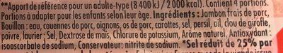 Le Bon Paris au Torchon -25% de Sel - Ingrédients