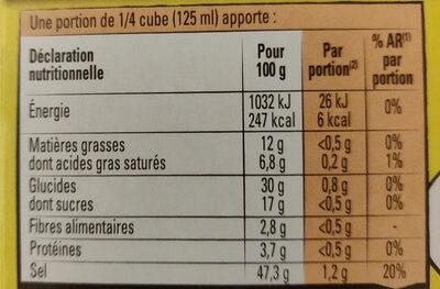 Bouillon Kub légumes - Nutrition facts - fr