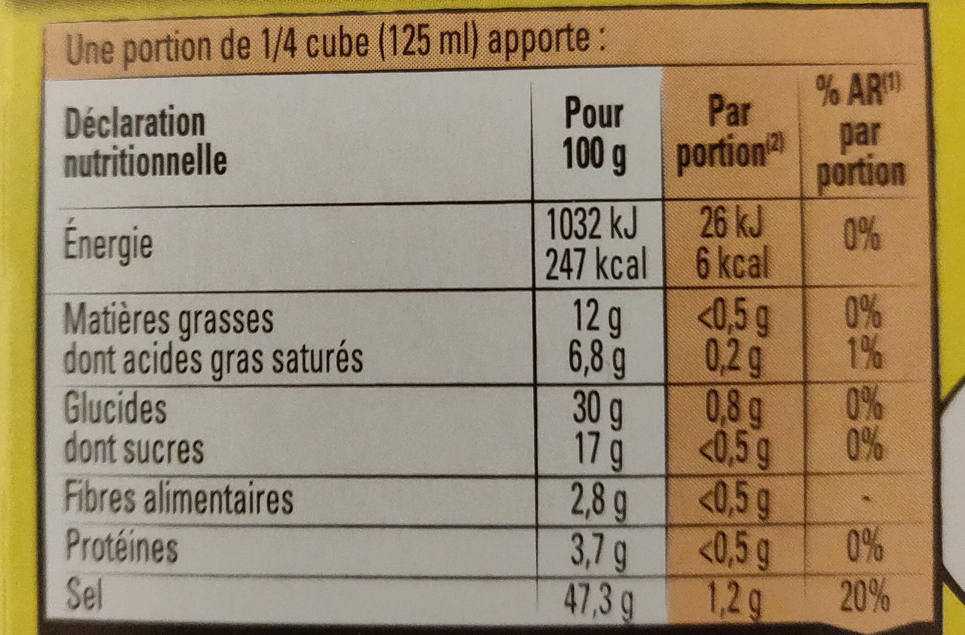 Bouillon Kub légumes - Voedingswaarden - fr