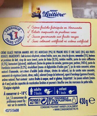 Crème Glacée Pralines Roses éclats croquants de pralines - Ingrédients