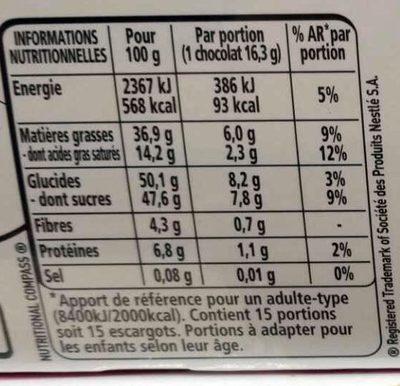 L'escargot Lait - Nutrition facts - fr