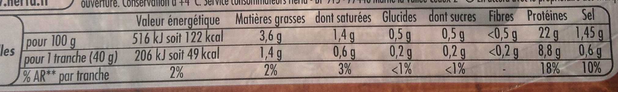 Tendre noix broche -25% sel - Nutrition facts - fr