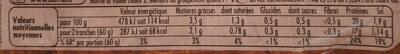 Tendre Noix Jambon Label Rouge - Nutrition facts