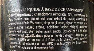 Concentré liquide champignons - Ingrédients - fr