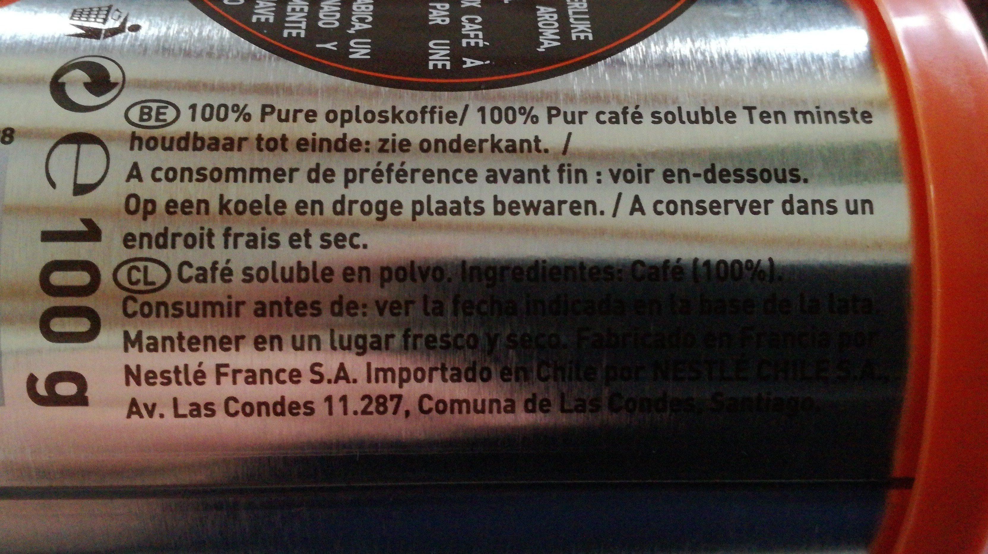 Nescafé Azera Espresso Instant Coffee 100 G - Ingredients