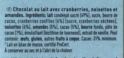 Chocolat au lait cranberries, amandes et noisettes - Ingrédients - fr