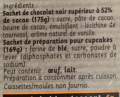 Cupcakes au Chocolat - Ingrédients - fr