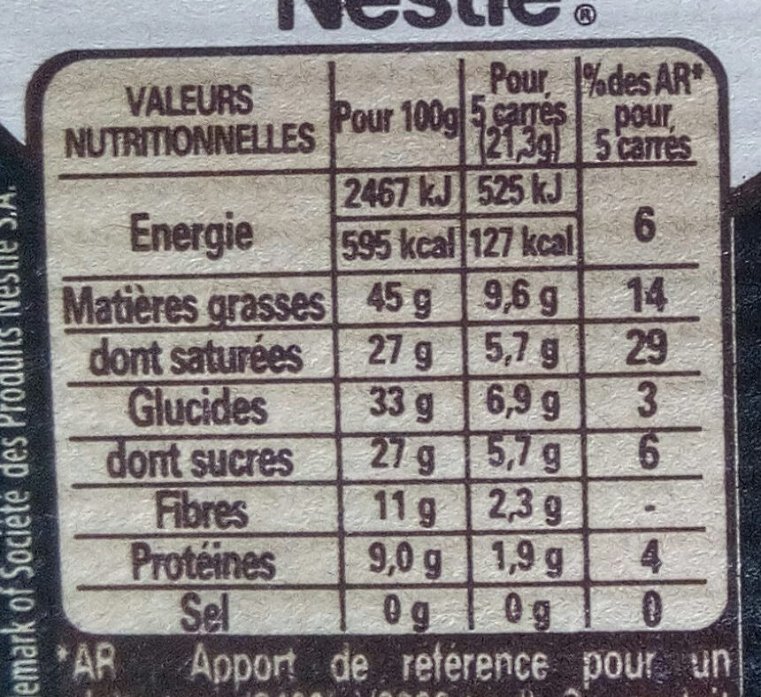 Noir Absolu - Nutrition facts
