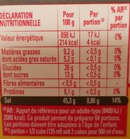 Kub Or (-25% de sel) - Nutrition facts