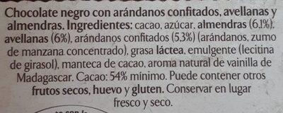 Chocolate negro almendras & avellanas - Ingredients
