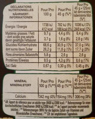 Crunchy muesli Lion - Nährwertangaben - fr