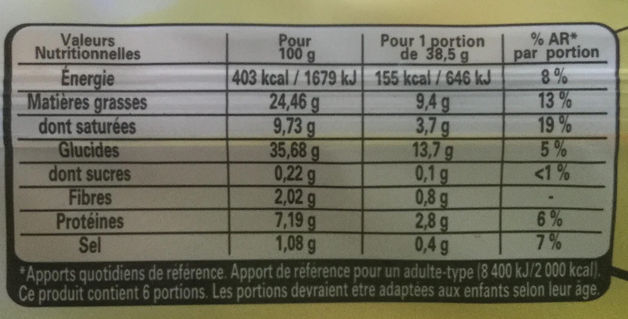 Tarte en or feuilletée - Nutrition facts - fr