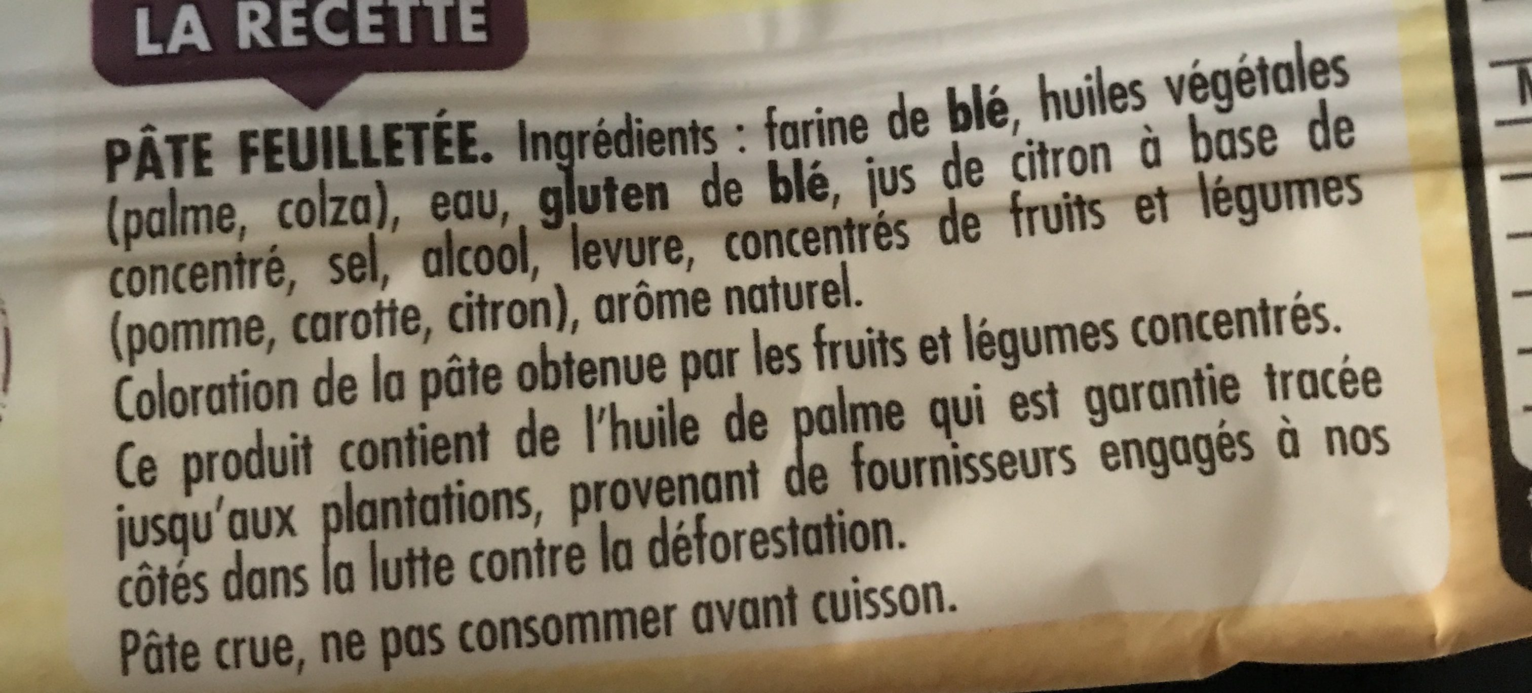 Pâte feuilletée diamètre 32 Trésor de Grand Mère - Ingrediënten - fr