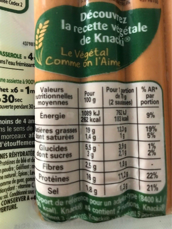 Knacki végétale blé et pois - Voedingswaarden - fr
