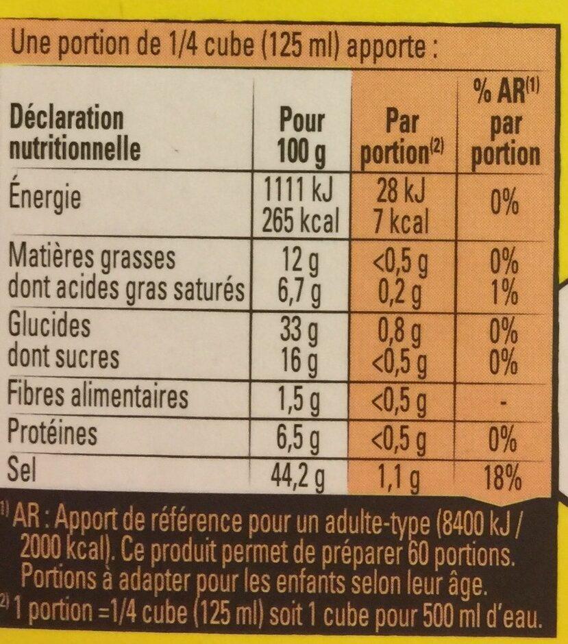 Bouillon Kub Poule au Pot - Voedingswaarden - fr