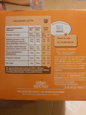 incarom latte - Informations nutritionnelles - fr