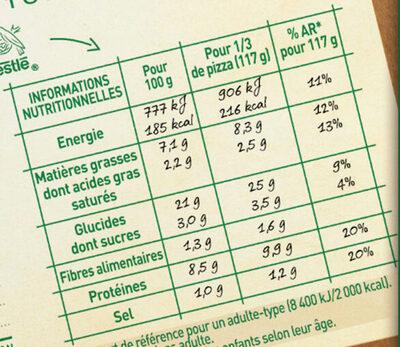 BUITONI FOUR A PIERRE Pizza Saumon - Informations nutritionnelles - fr