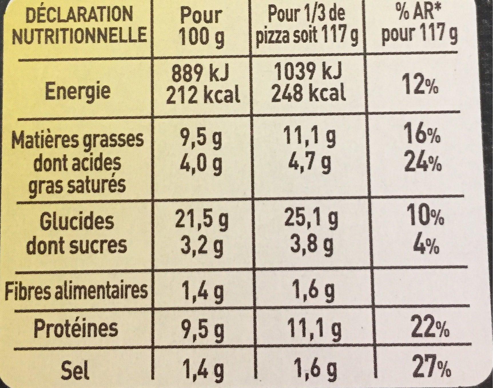 BUITONI FOUR A PIERRE CREAZIONE pizza surgelée Chèvre Lardons - Informations nutritionnelles - fr
