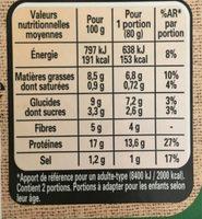 Le bon végétal - Steak gourmand - Valori nutrizionali - fr