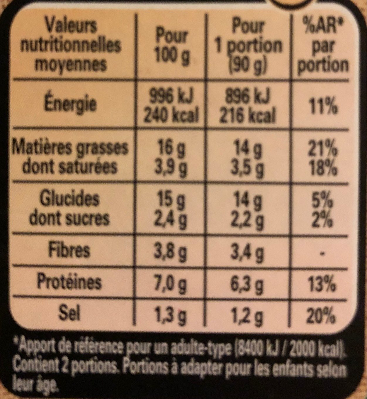 Pavé gourmand courgettes et fromage - Nutrition facts