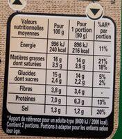 LE BON VEGETAL Pavé courgettes fromage - Valori nutrizionali - fr