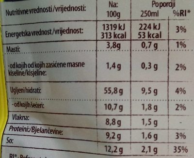 C Kraljevska kokošja supa - Nutrition facts - sr