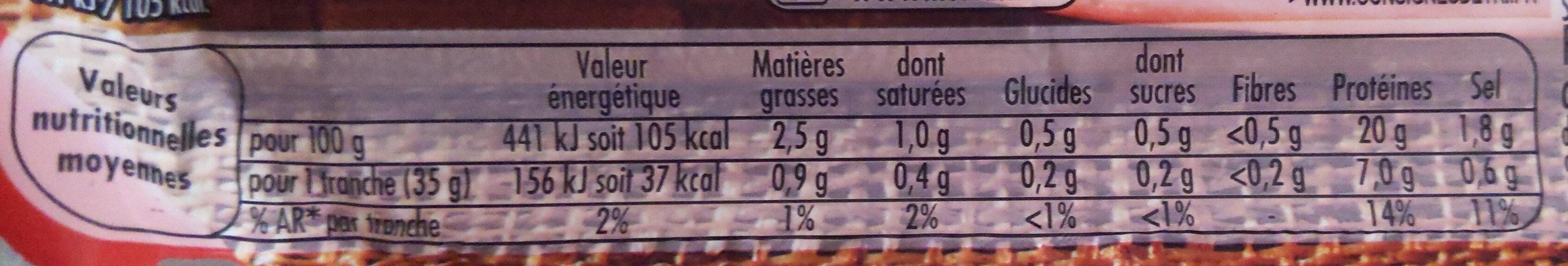 Le Bon PARIS à l'étouffée SANS NITRITE 4 tranches - Пищевая и энергетическая ценность - fr