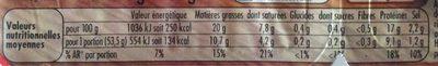 Allumettes - Informations nutritionnelles - fr