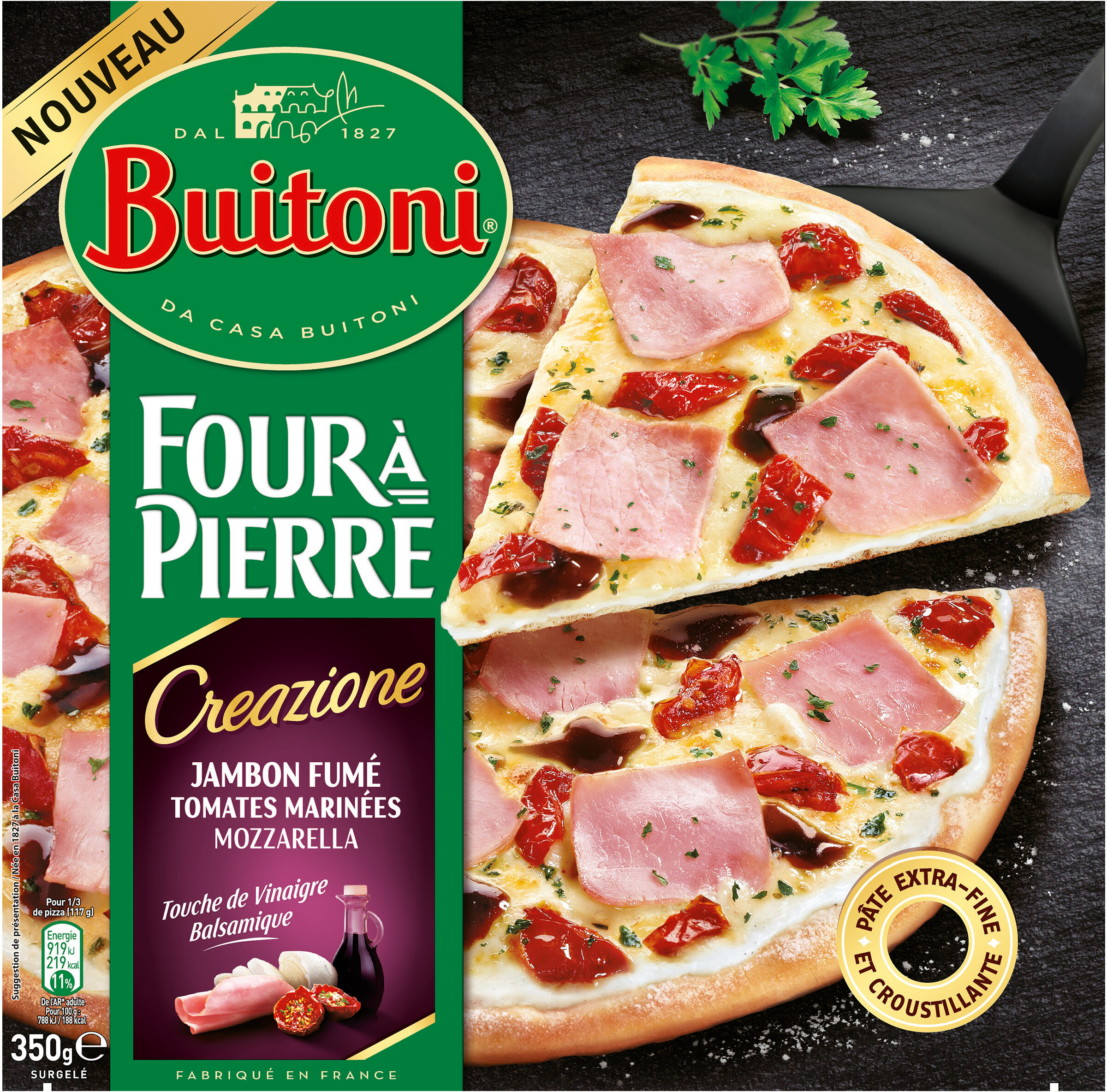 BUITONI FOUR A PIERRE CREAZIONE pizza surgelée Jambon Fumé - Produit - fr