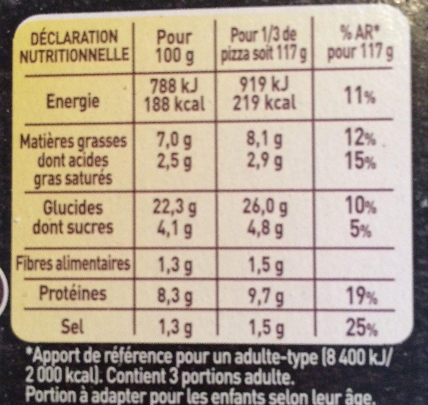 BUITONI FOUR A PIERRE CREAZIONE pizza surgelée Jambon Fumé - Informations nutritionnelles - fr