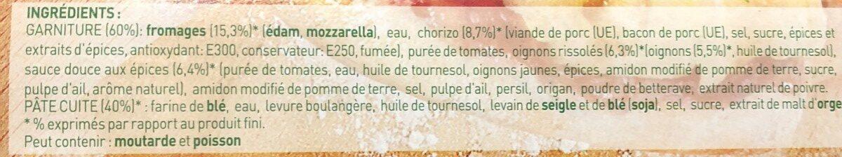 Pizza au chorizo, fromages, oignons, sauce douce aux épices - Ingredients