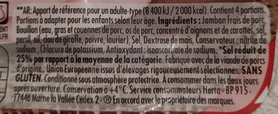 Le bon Paris -25% de sel - Ingredients - fr