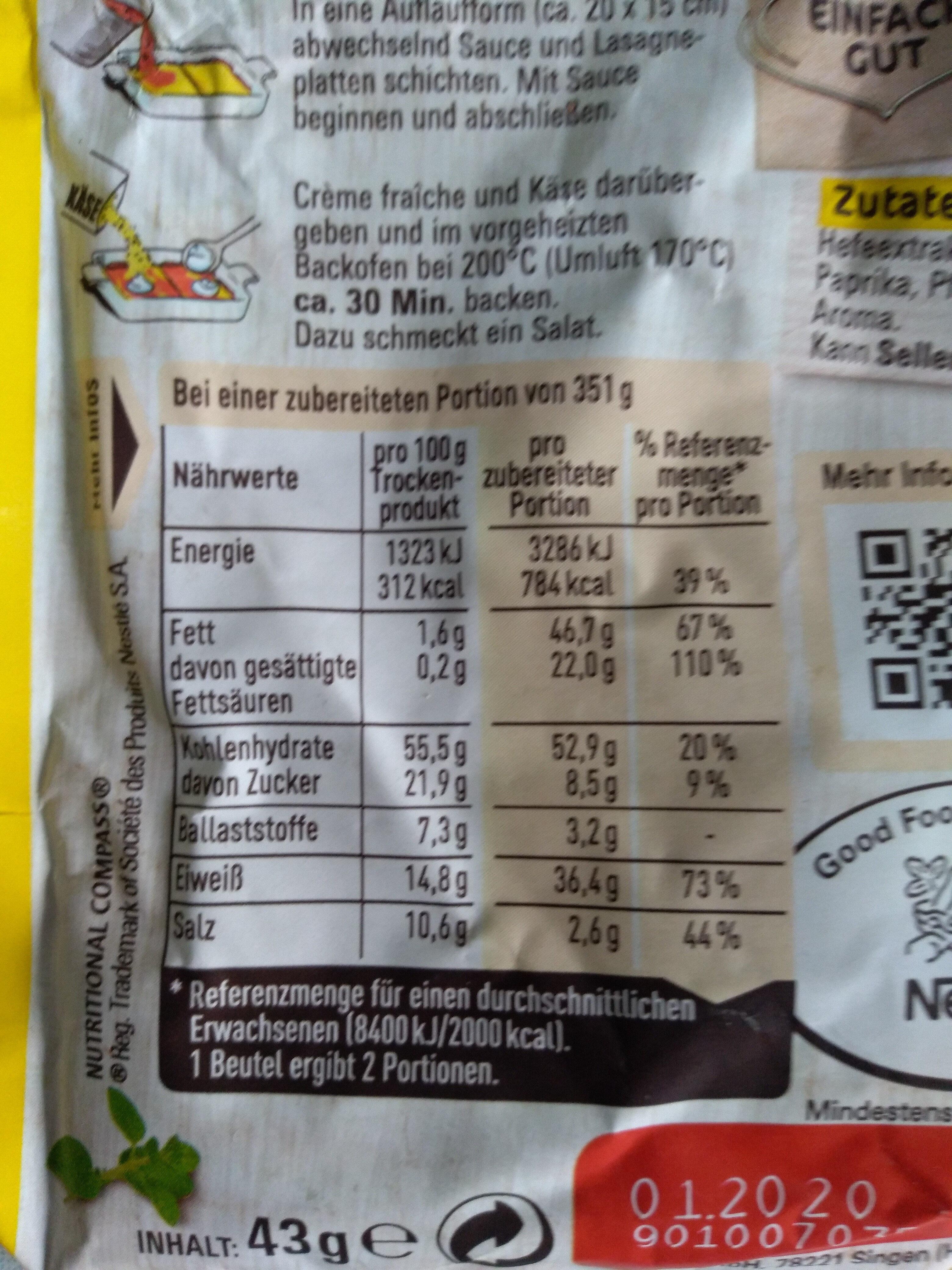 Maggi für Lasagne - Informations nutritionnelles - de