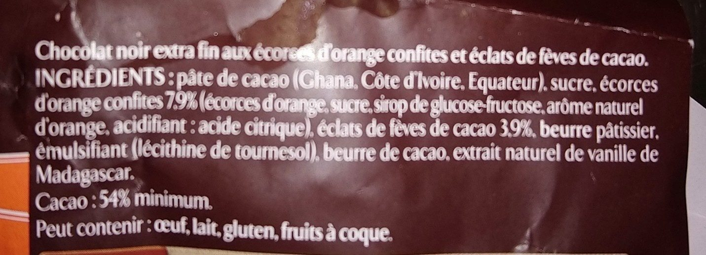 Orange confite éclats de fèves de cacao - Ingrediënten - fr