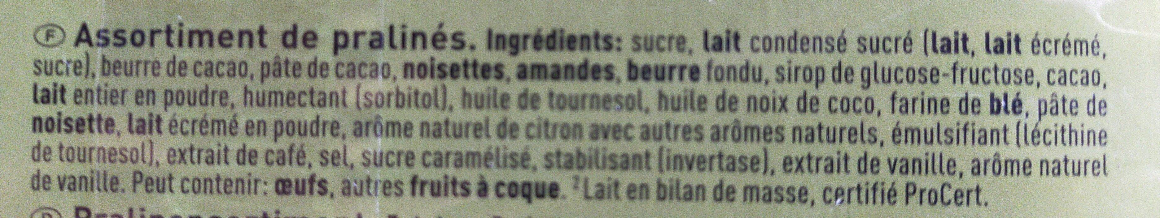 Section praliné - Ingrédients - fr