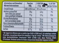 Section praliné - Informations nutritionnelles - fr