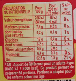 KUB OR bouillon - Nutrition facts - fr