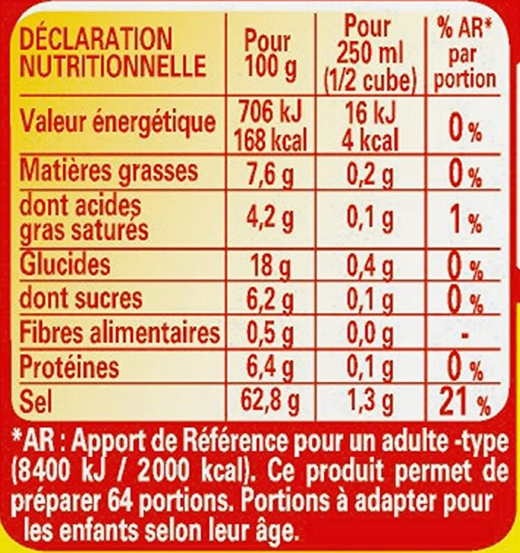 Kub Or - Maggi - Informations nutritionnelles - fr