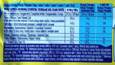 Wafel przekładany kremem mlecznym (47%) oblany mleczną czekoladą - Nutrition facts - pl