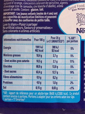 Smarties 125g - Informations nutritionnelles - fr