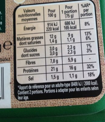 Steak Soja & Blé - Nutrition facts