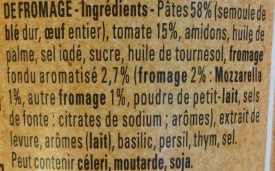 Bolino Italie Pâte tomate fromage - Ingredientes - fr
