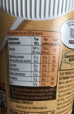 Bolino Italie Pâte tomate fromage - Informação nutricional - fr