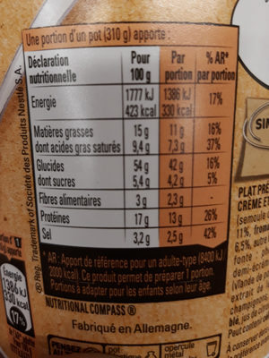 Bolino Etats-Unis Pasta&Cheese - Nutrition facts