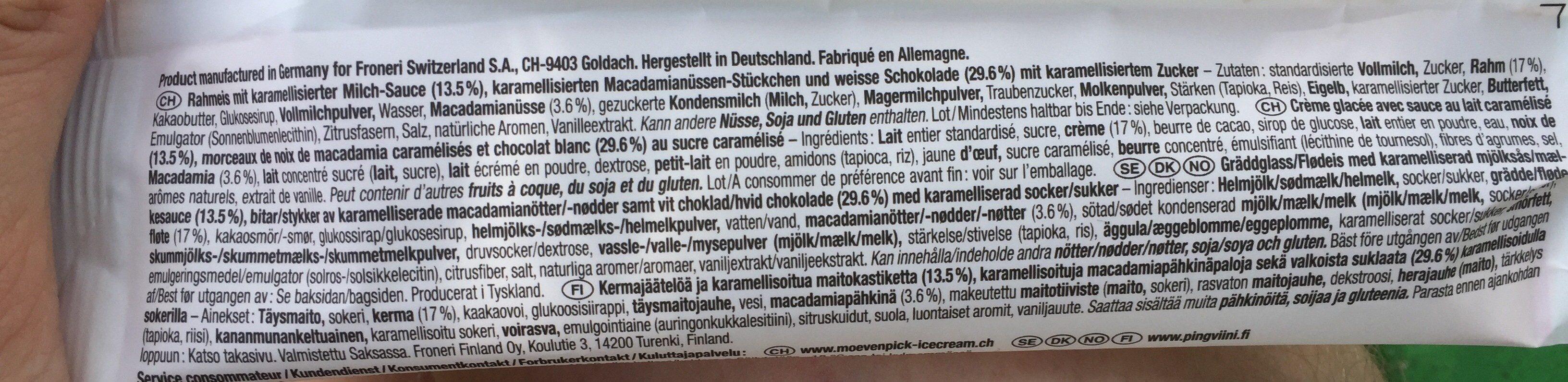 Mövenpick macadamia - Ingredients