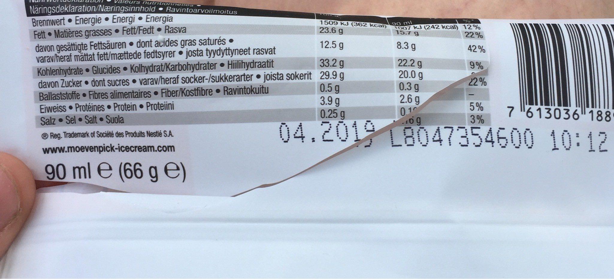 Mövenpick macadamia - Nutrition facts
